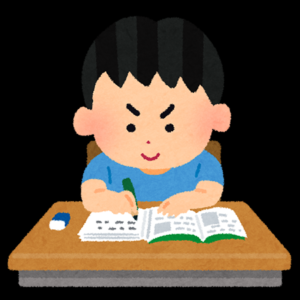 一生懸命に勉強する男の子